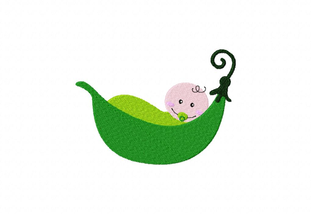 Pea Pod Baby Machine Embroidery Design