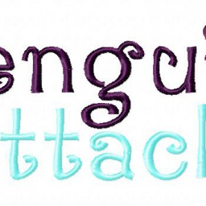 Penguin Attack Machine Embroidery Font Set