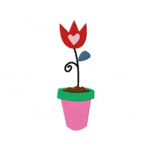 Potted Tulip Machine Embroidery Design