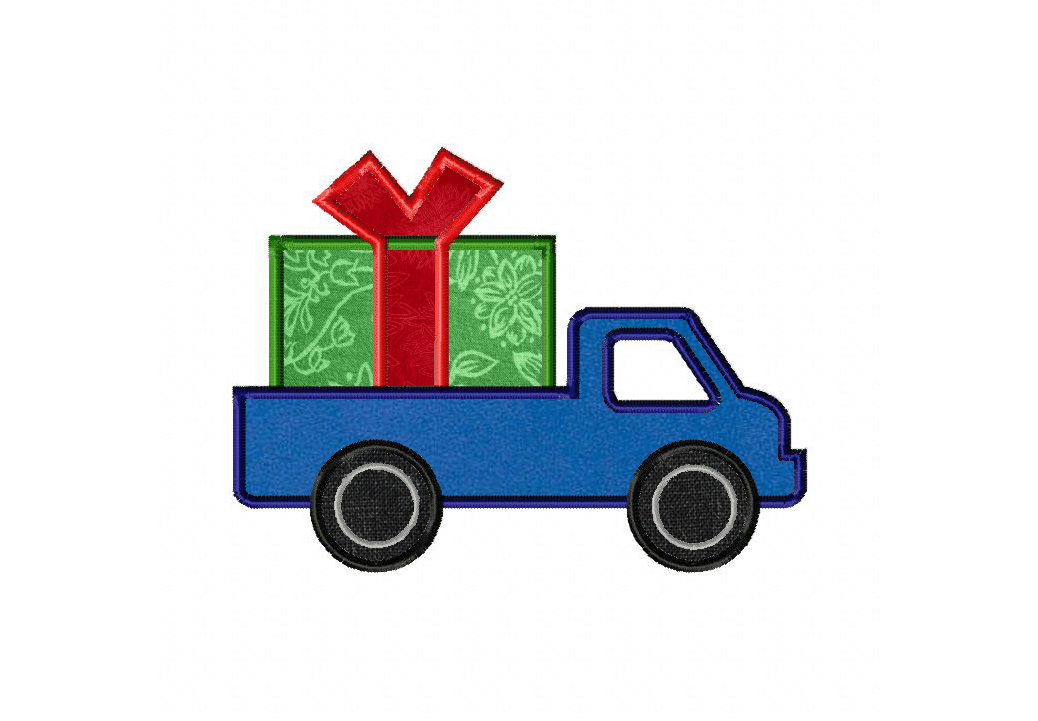 Truck Carrying Christmas Present Machine Applique Daily Embroidery
