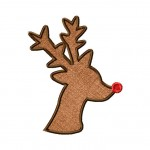 Red Nose Reindeer Silhouette Machine Embroidery Design Includes both Applique and Fill Stitch