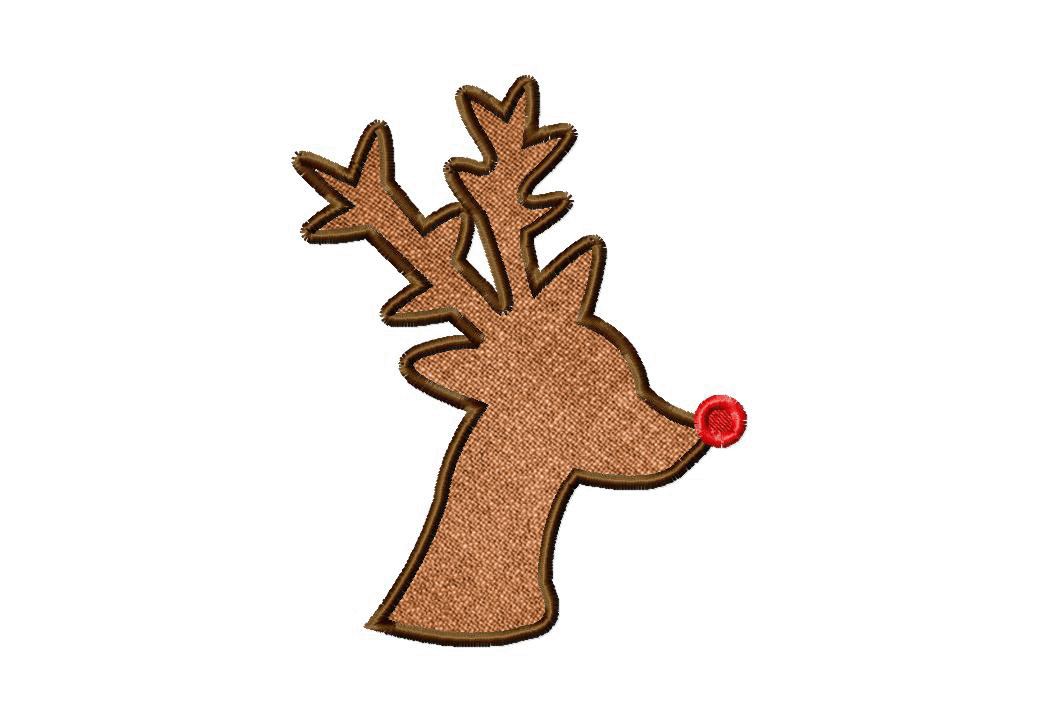Red Nose Reindeer Silhouette Machine Embroidery Design Includes both ...