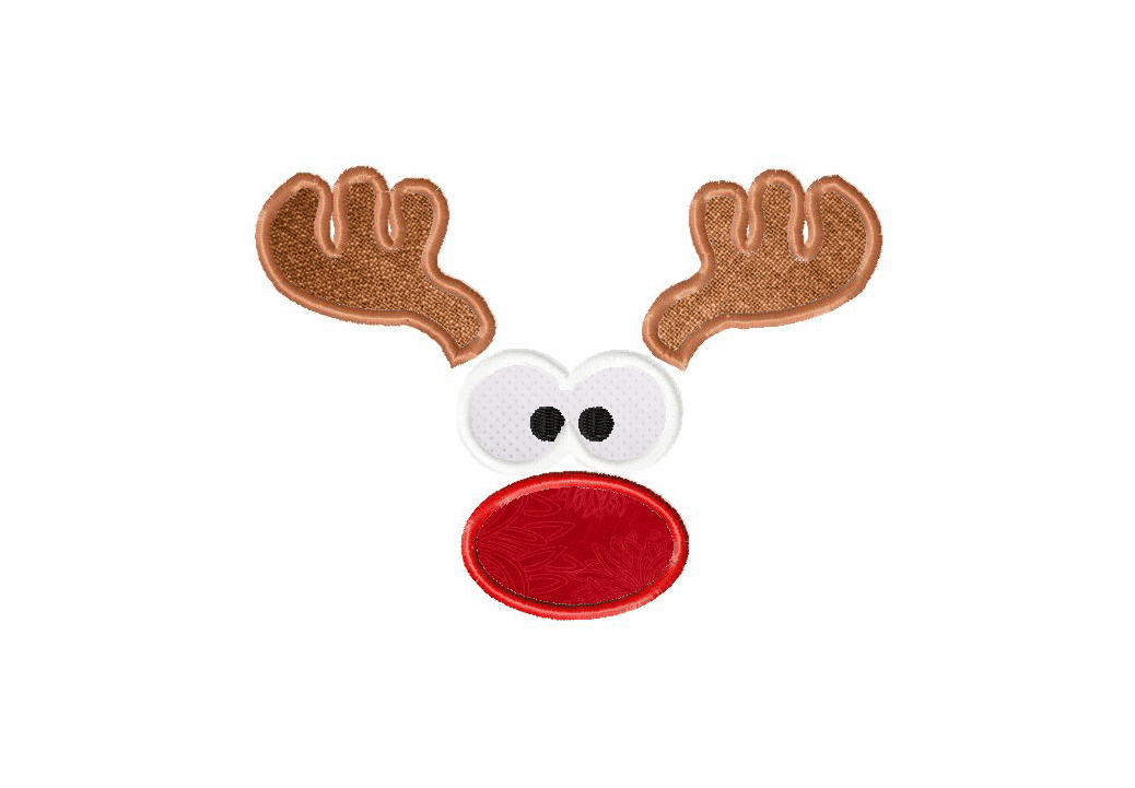 Red nose reindeer face machine embroidery in applique and fill