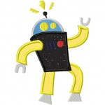 Robot Boogie Design Includes Both Applique and Fill Stitch