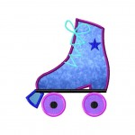 Roller Skate Machine Embroidery Includes Both Applique and Fill Stitch