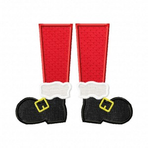Machine Embroidery Christmas Santa Feet Includes Both Applique and Filled Stitch