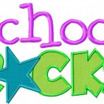 School Rocks Machine Embroidery Two Pack Includes Both Applique and Fill Stitch