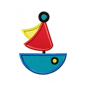 Sea Sailboat Machine Embroidery Design Includes Both Applique and Filled Stitch