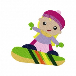 Snowboard Girl Machine Embroidery Design