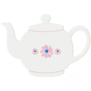 Tea Pot includes both Applique and Fill Stitch