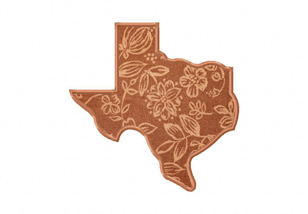 Texas state machine embroidery design includes both applique and