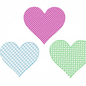 Machine Embroidery Motif Stitched Heart Three Pack I