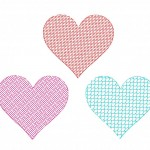 Bonus Three Pack of Machine Embroidery Motif Filled Heart Designs