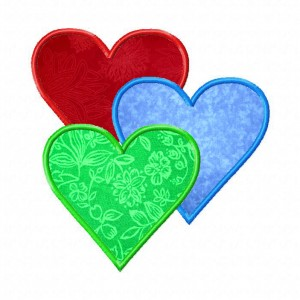 Three Hearts Machine Embroidery Design Includes Both Applique and Filles Stitch