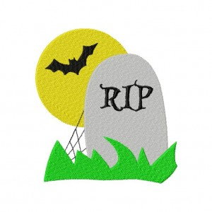 Scary Tombstone Graveyard Scene Machine Embroidery Design