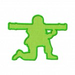 Bazooka Man Toy Soldier Includes Both Applique and Fill Stitch