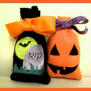 Easy In The Hoop Machine Embroidery Halloween Treat Bags Tombstone and Jack O Lantern Two Pack