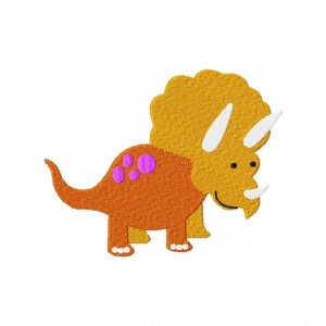 Triceratops Machine Embroidery Design Includes Both Applique and Fill Stitch