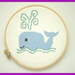 Machine Embroidery Whale Done in a Cross Stitch Style
