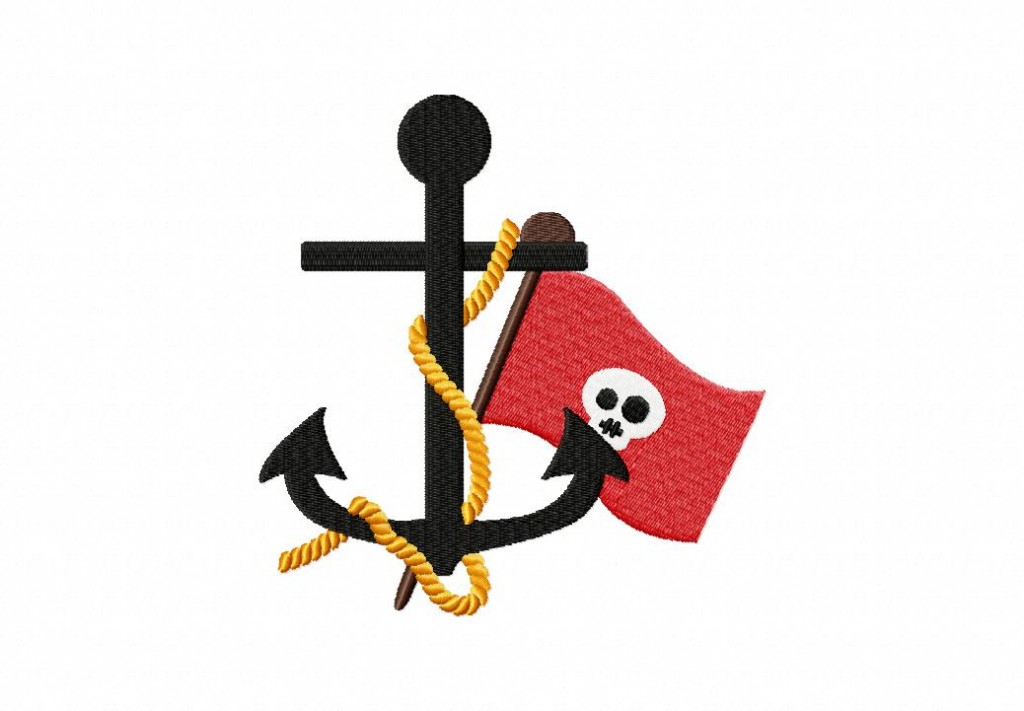 Ahoy Pirate Anchor Machine Embroidery Design Daily