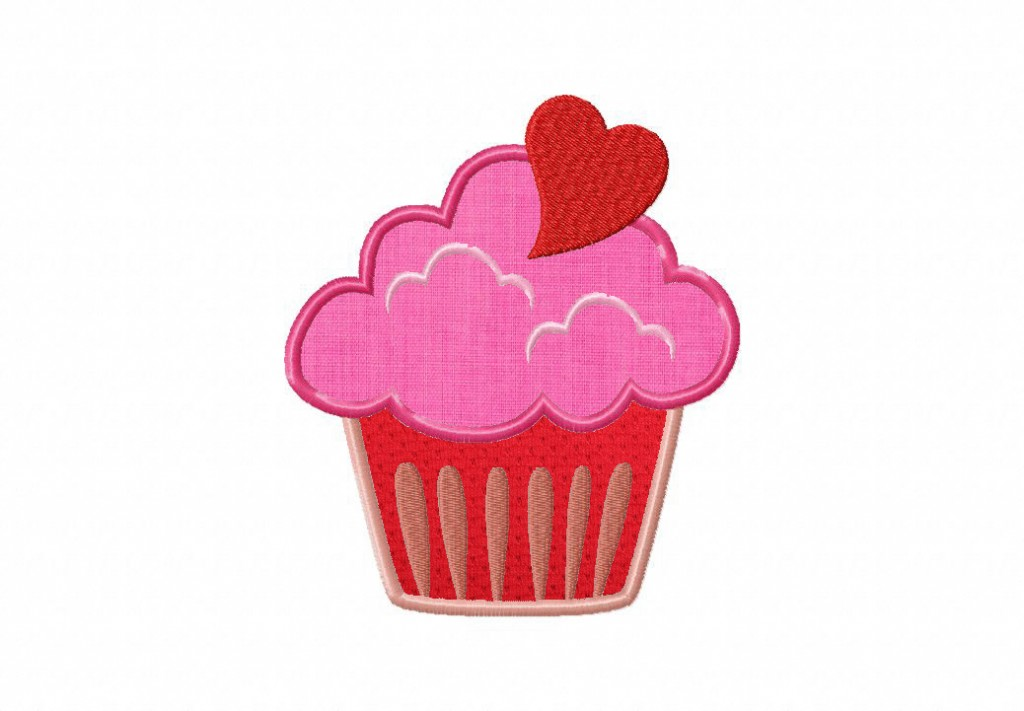 Cupcake Heart Top Includes Applique And Filled Daily