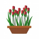 Potted Tulip Family Stitched 5_5 Inch