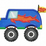 Monster Truck Van Applique 5_5 Inch Inch