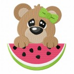Watermelon Peeker Bear Stitched 5_5 Inch