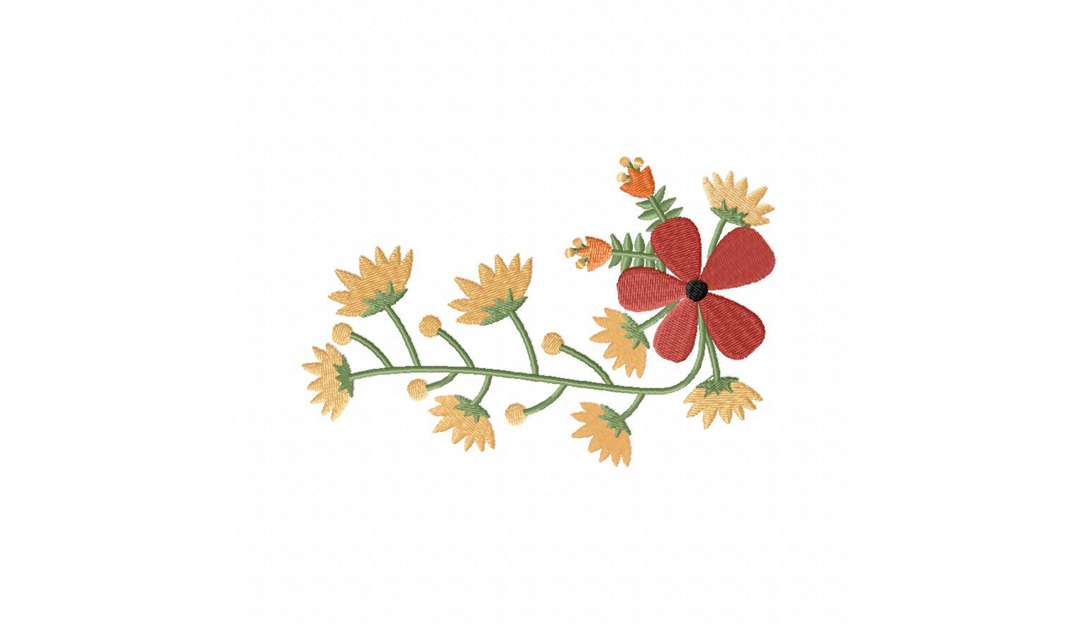Vintage flower bunch machine embroidery design daily
