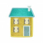 Cute Chimney House Applique 5_5 Inch