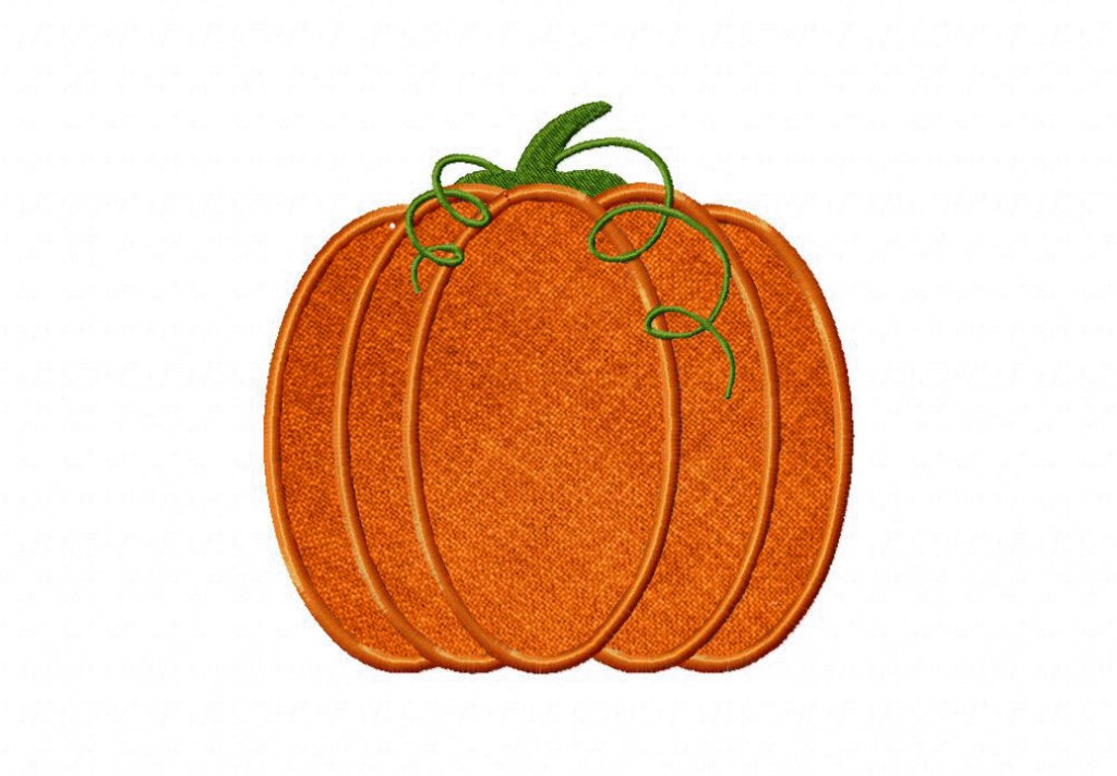 Fresh pumpkin includes both applique and filled stitch