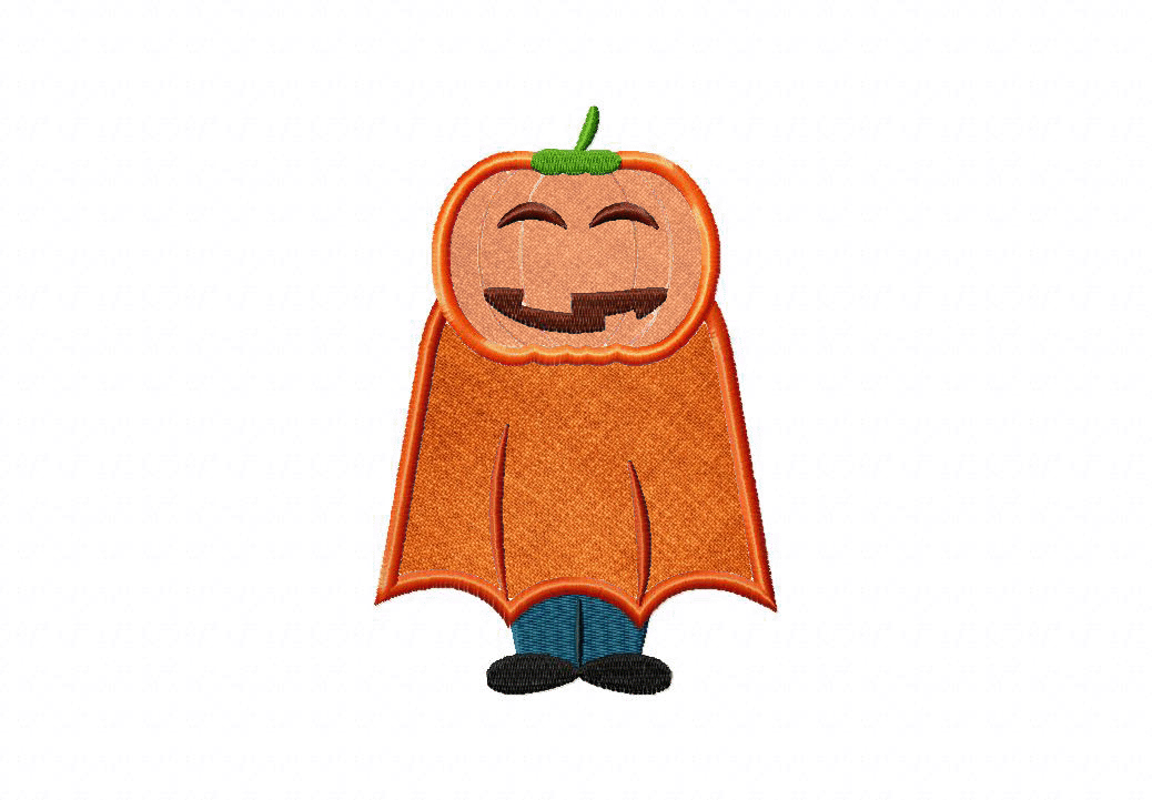 9f6e1dbaf53 Pumpkin Kid Includes Both Applique and Filled Stitch