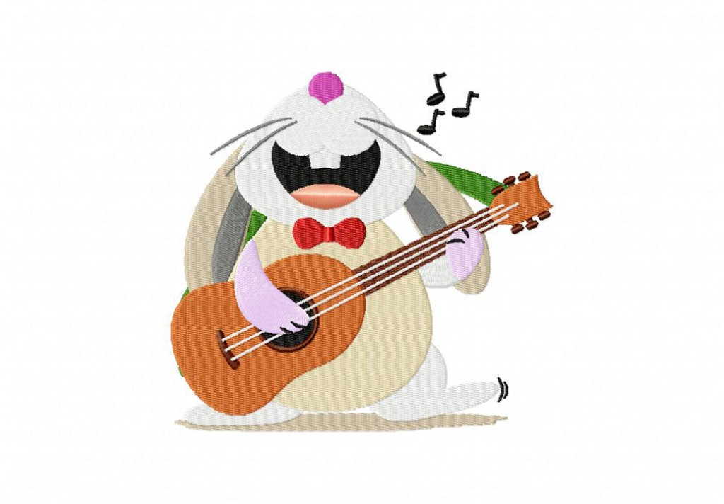 Bunny On Guitar Machine Embroidery Design Daily Embroidery
