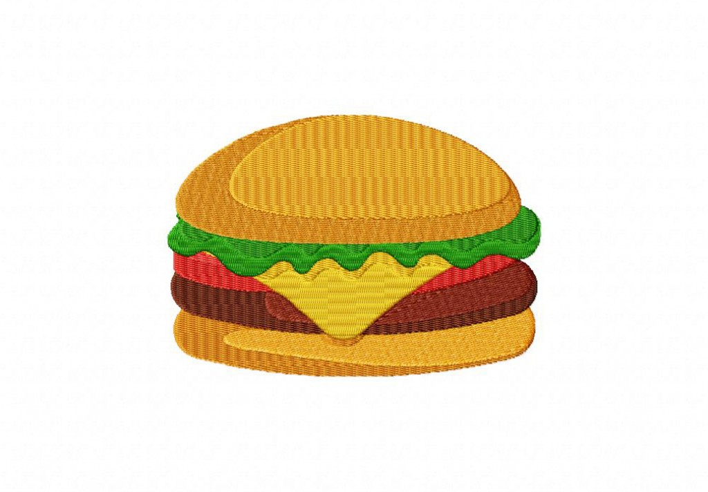 Meaty Burger Machine Embroidery Design Daily Embroidery