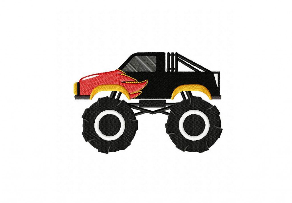 monster truck flames machine embroidery design