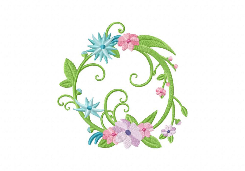 Full floral wreath machine embroidery design daily