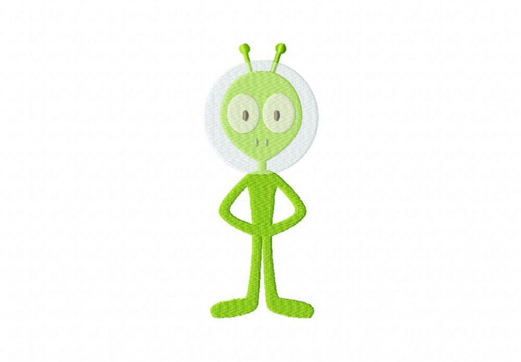 Green Alien Machine Embroidery Design Daily Embroidery