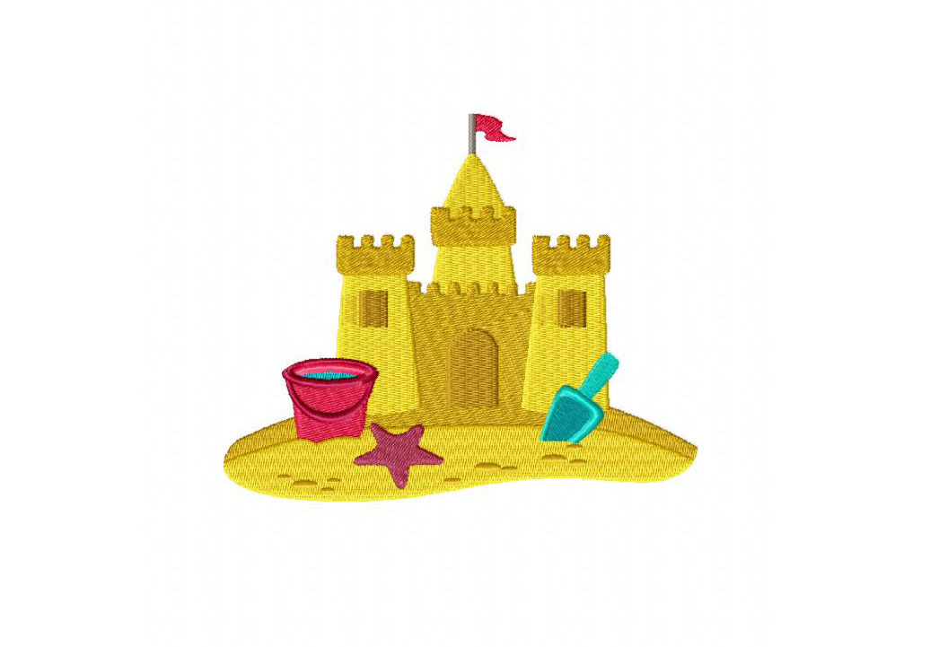 Sand Castle Machine Embroidery Design | Daily Embroidery