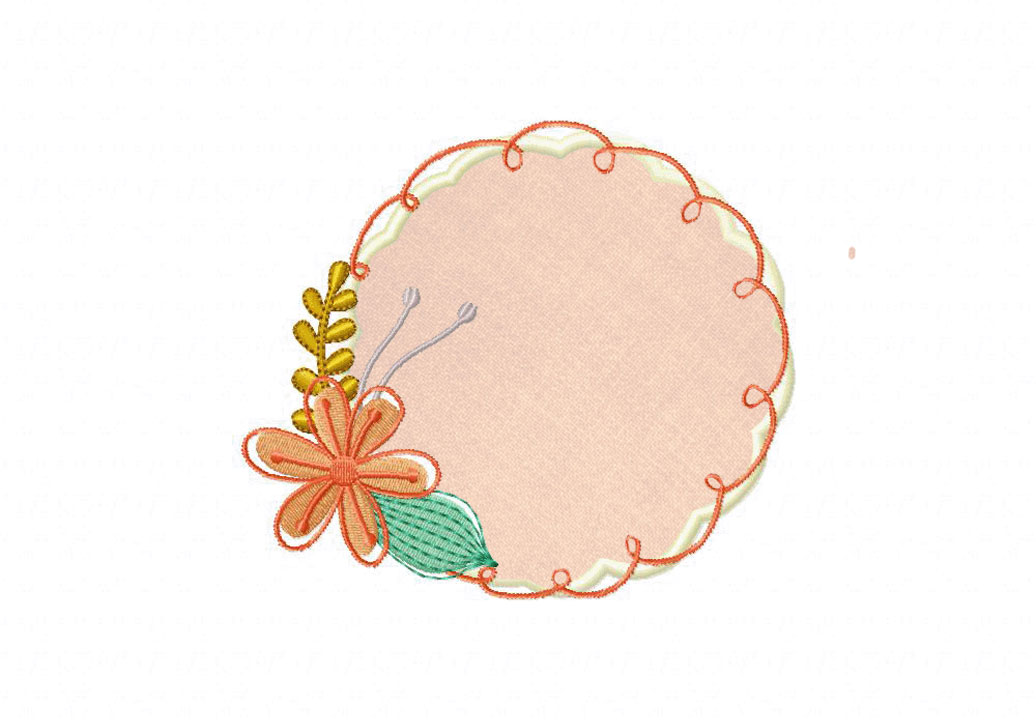 Doodle floral frames includes both applique and stitched