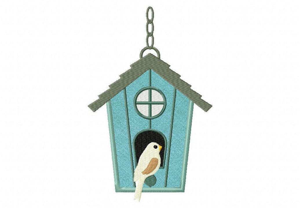 Green Birdhouse Includes Both Applique And Stitched
