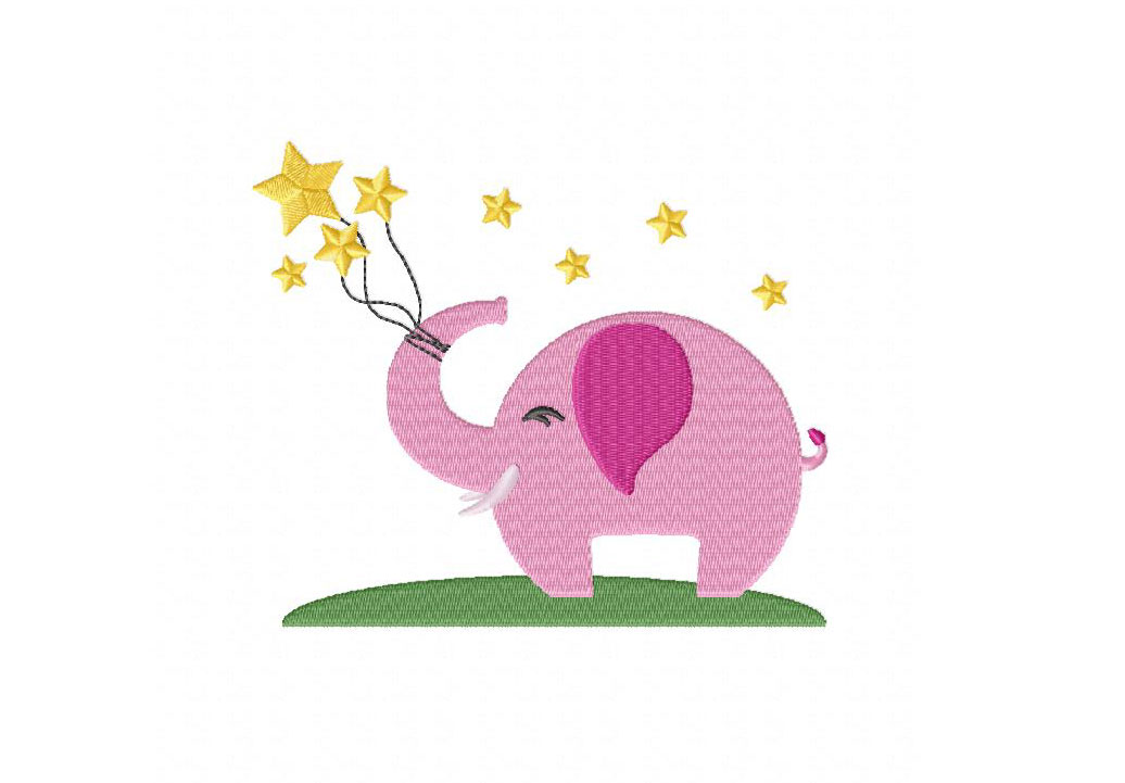 Elephant Stars Machine Embroidery Design  Daily Embroidery
