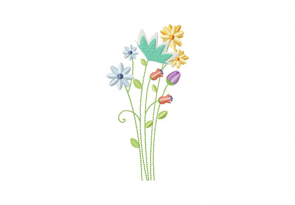 Meadow flowers machine embroidery design daily