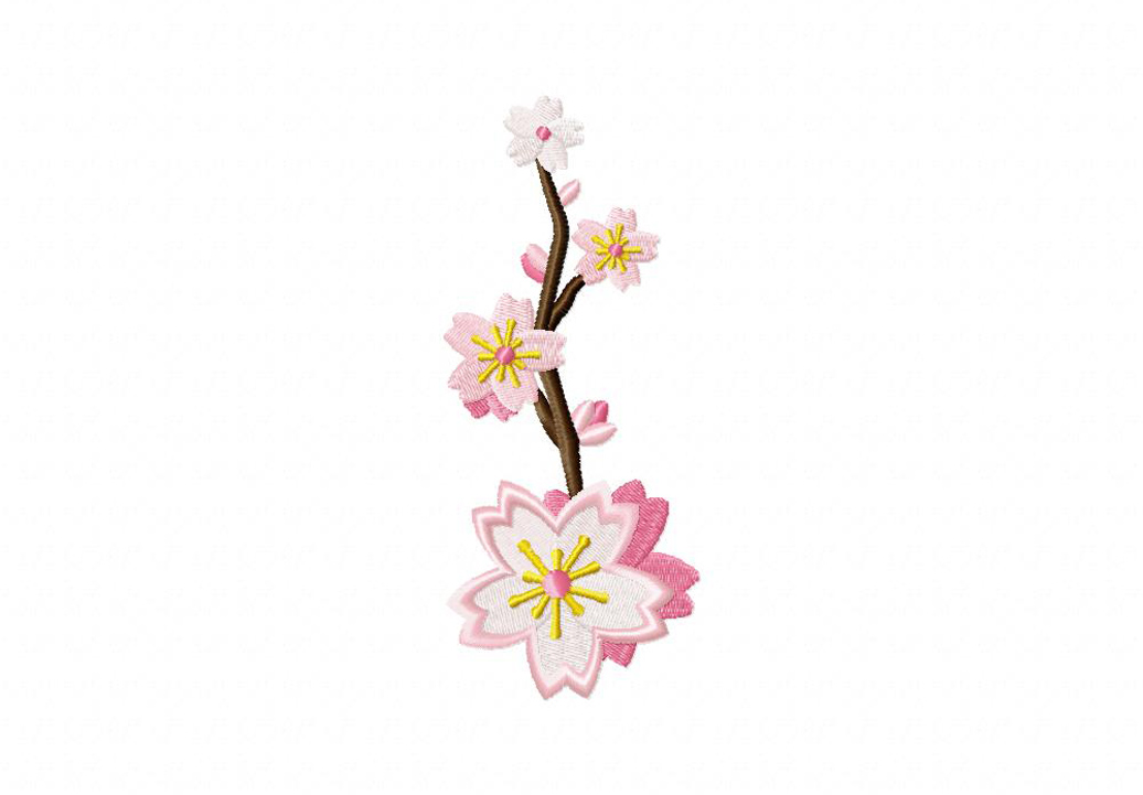Cherry Blossoms Cluster Machine Embroidery Design Daily