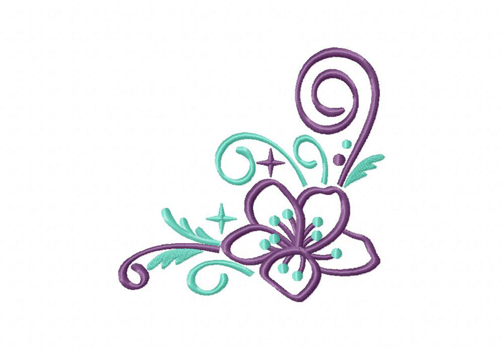 Corner Flower Sparkles Machine Embroidery Design Daily Embroidery
