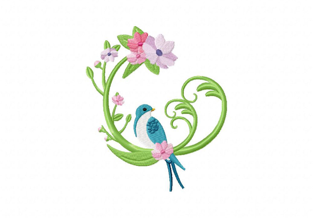Wreath with bird machine embroidery design daily