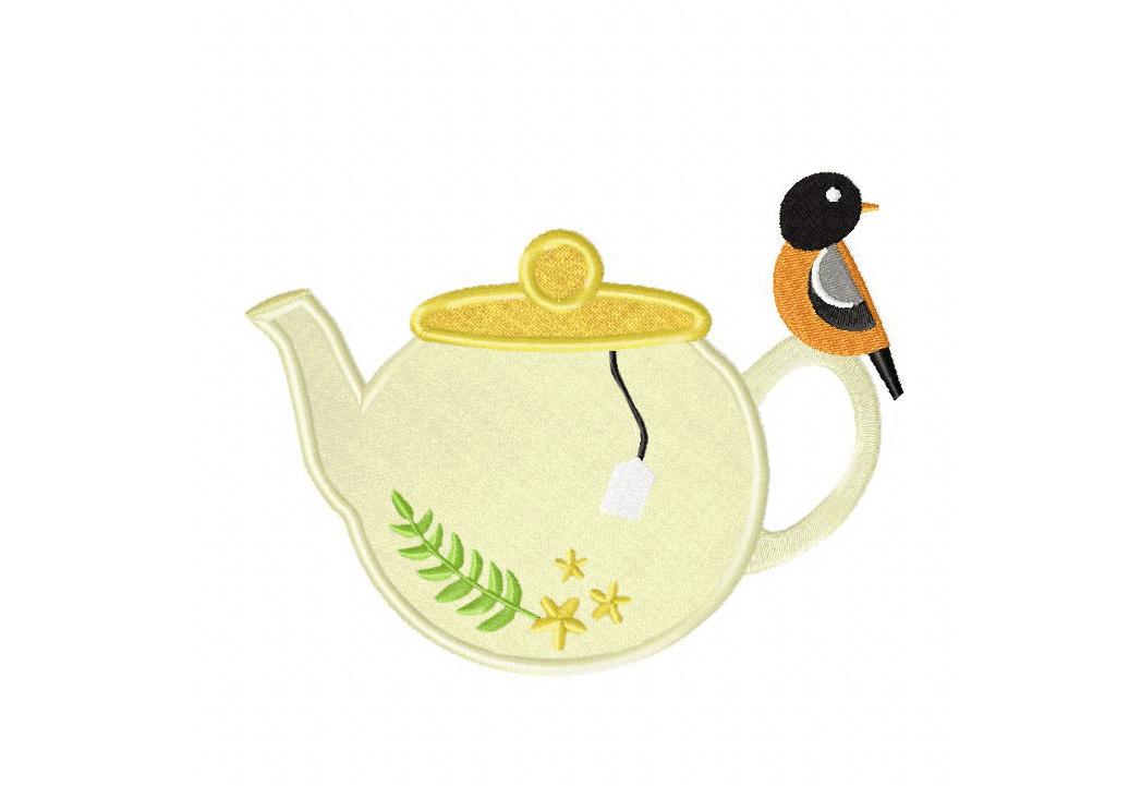 Teapot And Bird Includes Both Applique And Stitched