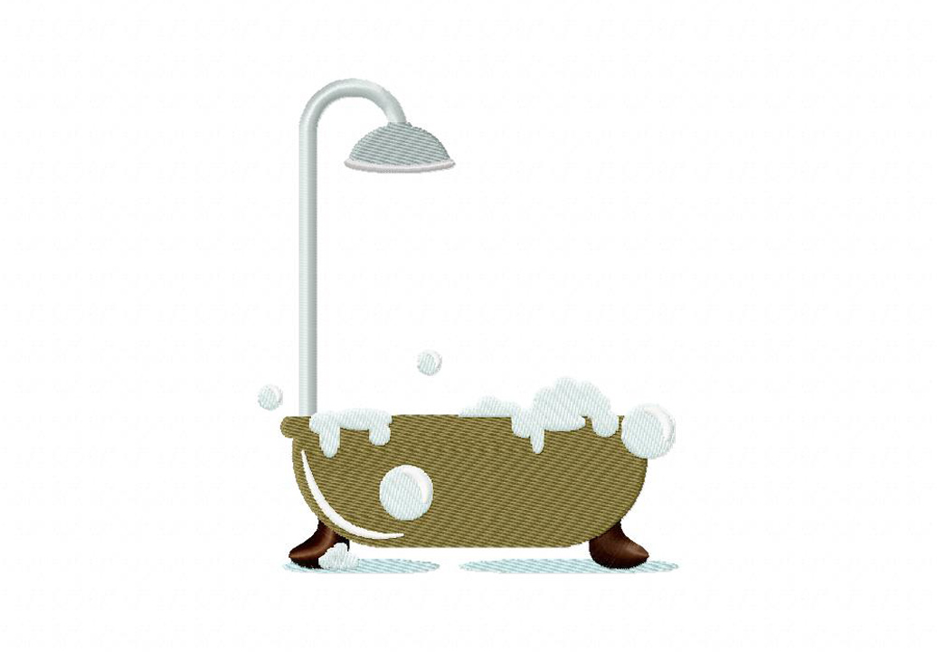 Bath Tub With Shower Machine Embroidery Design Daily