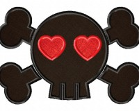 Black-Love-Skull-Applique-5x7