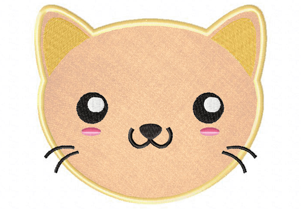 Kawaii,Kitty,Face,Applique,5x7