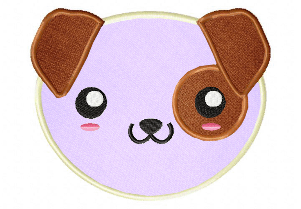 Kawaii Puppy Face Includes Both Applique And Stitched